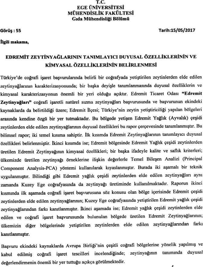 Bilimsel Çalışma: Edremit Zeytinyağı (Menşe Adı)